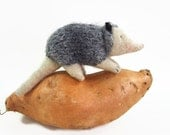 toy possum, waldorf toy, stuffed animal, stuffed toy, waldorf animal, wool possum