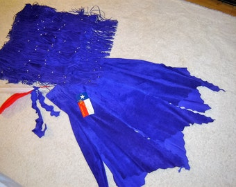 Costume Halloween native Indian maiden blue real suede 2 pc. DRESS  women's sz L  western Pocahontas
