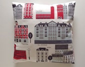 My Stockholm cushion cover red gray mid-century architectural homeware