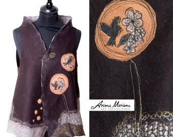 Contemporary textile art woman vest, silk wool wearbale art, reversible waist coat, convertible bolero art, birds, animal art