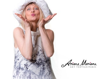 Unique wearable art women shirt top - handpainted Paris designer garment - reversible - convertible - ecofriendly - natural wool