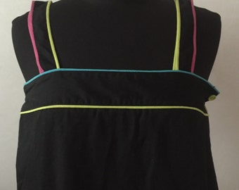 SALE – Black sundress with neon piping by Bill Tice.