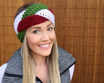 Christmas Head Wrap Green, Red, White Braid Head Hair Accessory Band Earwarmer Headband Crochet Knit Wrap Fashion Vegan Buttons Unisex Girl