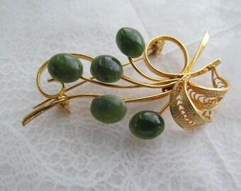 SWOBODA Signed brooch with genuine jade gemstones in floral design
