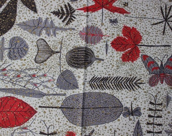 "Barkcloth Metallic  leaves Butterflies 49"" x 54"" Mid Century Modern Fabric VINTAGE by Plantdreaming"