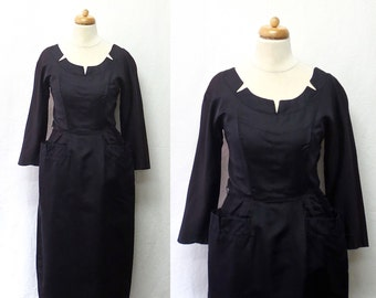 1950s Vintage Silk Faille Dress / Midnight Blue Notched Scoop Neck Dress