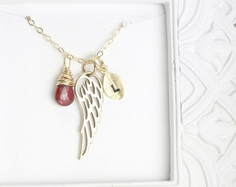 Miscarriage Necklace - Sympathy Gift - Personalized Memorial Necklace - Loss Gift - Remembrance Necklace - Gold Memorial Necklace Angel Wing