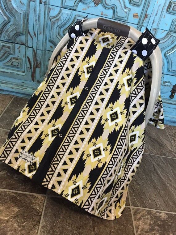 Carseat Canopy Aztec Print Black and Gold  / Car seat cover / car seat canopy / carseat cover / carseat canopy / nursing cover
