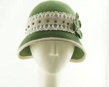 CLOCHE HAT for Women - Felt Hat - Sage Green -  Roaring Twenties - Vintage Style - Handmade Hat - Downton Abbey Hat - Flapper Hat - 1920's