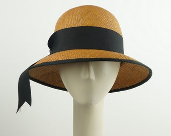 Handmade PANAMA STRAW HAT for Women - Cloche Hat - Sun Hat - Golden Brown Hat - Wide Brim Hat - Beach Hat - Wedding Hat - Sun Protection