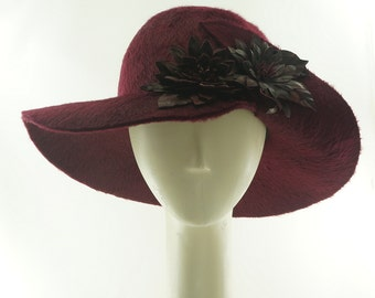WIDE BRIM Hat - Flower Hat - Felt Hat - Vintage Style - Burgundy Hat - Beaver Felt Hat - Wedding Hat - Leather Flowers -  Handmade Hat