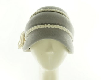 Light Gray CLOCHE HAT for Women / Vintage Style Beehive Hat / Handmade by Marcia Lacher Hats