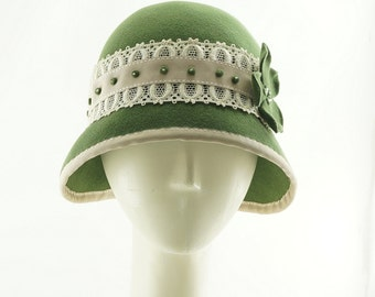 Sage Green CLOCHE HATfor Women / 1920s Vintage Style Hat / Handmade by Marcia Lacher Hats