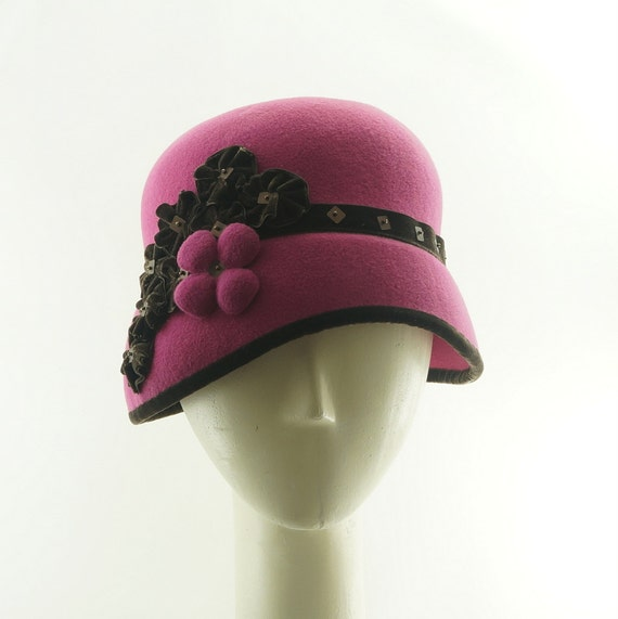 Raspberry Pink CLOCHE HAT for Women / Vintage Style Hat / Handmade by Marcia Lacher Hats