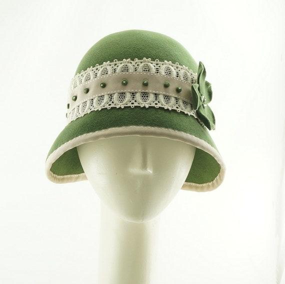 Sage Green Cloche Hat, Wedding Cloche, Fur Felt Hat, Vintage Style Hat, Phryne Fisher Hat, Easter Hat, Designer Cloche Hat
