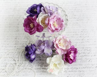 Mix of Purple Mulberry Magnolias Set of 10 for Scrapbooking, Cardmaking, Altered Art, Wedding, Mini Album