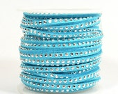 Faux Suede - 3mm Flat Studded - Pale Blue - 5 Feet