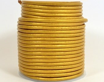 3mm Indian Leather - Metallic Gold - 3MR-229 - Choose Your Length