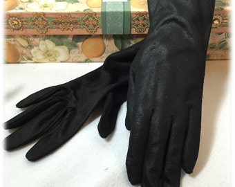Vintage Ladies Black Patterned Gloves Cool Weather Hand Protection