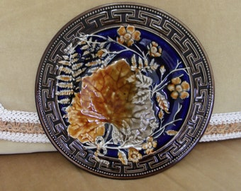 Antique Choisy Le Roi French Majolica Plate Leaf Fern Greek Key Border Cobalt Blue