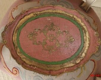 Vintage Italian Florentine Tray Dusty Rose Pink Hollywood Regency Vanity Tray
