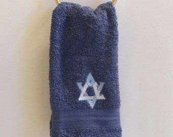 On Sale Hand Towel Embroidered with Love Star of David in Federal Blue