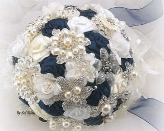 Brooch Bouquet, Navy Blue, Ivory, Cream, White, Vintage Style, Elegant Wedding, Fabric,Jeweled, Bridal Bouquet,Pearls,Lace, Crystals, Gatsby