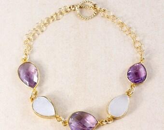 ON SALE Pink Amethyst Bracelet – White Druzy – 14K Gold Filled