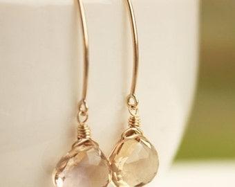 25% OFF Gold Champagne Citrine Quartz Earrings - Honey Drops