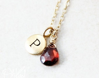 25% OFF January Garnet Birthstone Necklace - Initial Charm - Gold or Silver