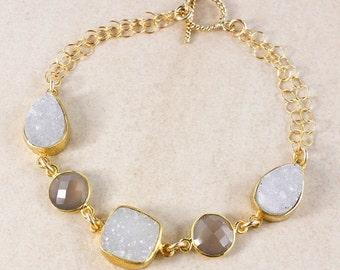 20% OFF Soft Grey Druzy and Chalcedony Bracelet – 14K Gold Filled – Choose Your Gemstones