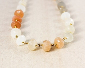 LABOR DAY SALE Peach Moonstones Beaded Necklace