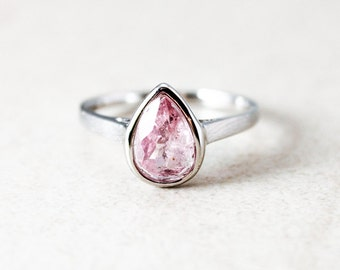 Silver Light Pink Tourmaline Ring - Pear Shape Ring - October Birthstone