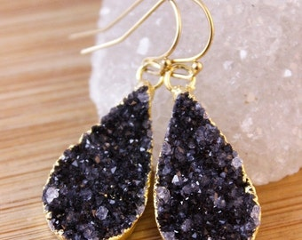 50% OFF Gold Black Druzy Crystal Earrings - Teardrop Earrings - Classic Earrings