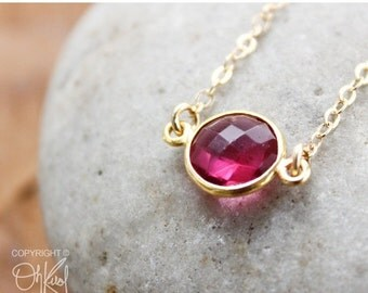 CLEARANCE SALE Gold Red Ruby Quartz Connector Necklace - 14K Gold Filled - Dainty Necklace