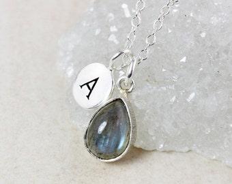 CLEARANCE SALE Blue Labradorite Teardrop Necklace – Choose Your Charm - Silver