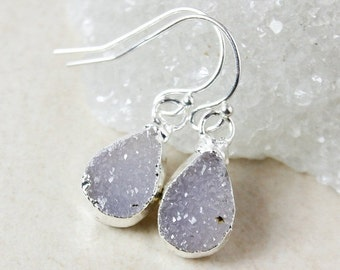 50 OFF SALE Purple Teardrop Druzy Dangle Earrings - Choose Your Druzy