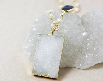 50 OFF SALE Rectangle Vanilla White Druzy Necklace – London Blue Topaz – White Freshwater Pearls Chain