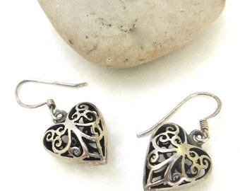 vintage ear wear   ...    silver heart earrings
