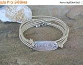 SALE 30% off Sale Leather Pewter Live Life Wrap Bracelet
