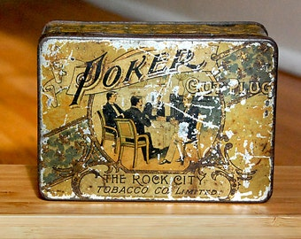 Vintage Tobacco Tin Box Rock City Cut Plug Poker Brand Rare and Collectible Men Play Game.