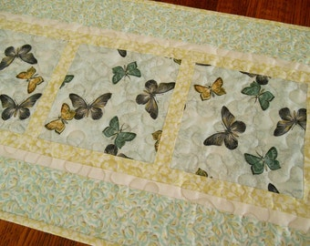 Butterfly Table Runner in Aqua Yellow and Grey, Quilted Butterflies Table Runner, Blue and Yellow, Quilted Table Mat