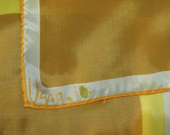 Vintage Rectangular Vera Neumann Ladybug Scarf - Yellow, Gold with Stripes and Squares Geometric Pattern