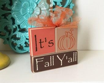 It's Fall Y'all- Fall Decor, Harvest Decor, Pumpkin Decor, Fall Blocks, Autumn Decor, Fall Decorations, Holiday Blocks, Seasonal Blocks,