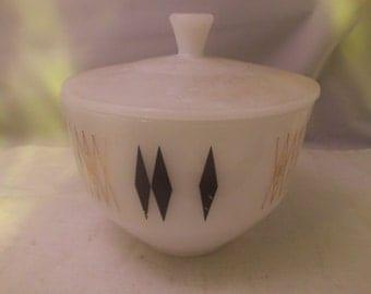 Vintage Federal Glass Grease Jar Mid Century Modern Atomic Design