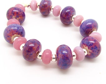 Purple Beads, Pink Beads Lampwork Bead Set, Lampwork Beads, Glass Beads, UK, FHFteam, SRA