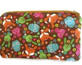 Pencil Case, Zipper Pouch, Cosmetic Bag, Clutch Purse, Padded, Owl and Fox Print