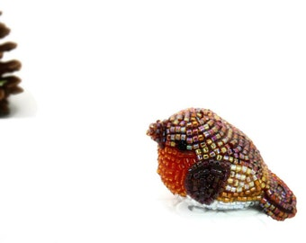 Robin Bird Figurine Miniature Beaded Woodland Animal Totem *READY TO SHIP