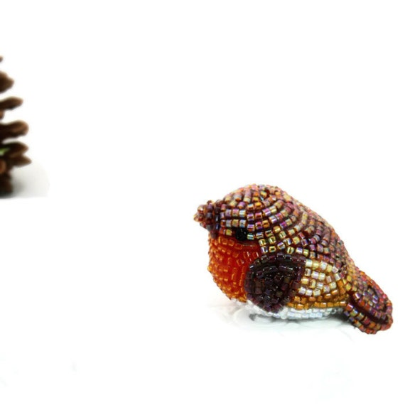 Robin Bird Miniature Figurine Tiny Beaded Woodland Animal Totem *READY TO SHIP