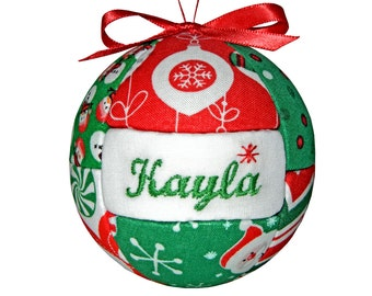 Personalized Red and Green Christmas Ornament - Ready To Ship by CraftCrazy4U on Etsy